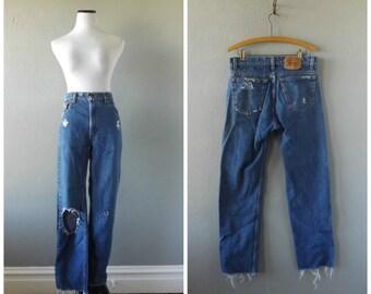 Distressed 80s Levis Jeans Vintage Dark Blue Wash Worn In Frayed Denim 32 Waist Hippie Boho Straight Leg Pants 1980s Thrashed Trousers Hippy