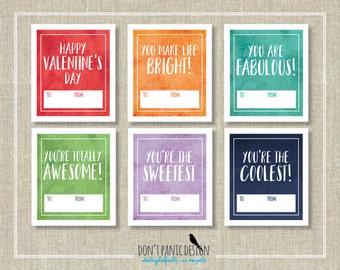 DIY Valentine's Card - School Valentines - Bright Valentine's Day Cards - Gender Neutral Valentine's - Instant Download