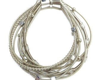 NEW!!  Silver Piano Wire Bracelet with Mixed Texture & Magnetic Clasp