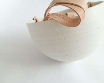 Plant Hanger - porcelain and recycled leather