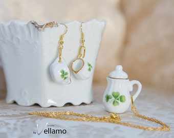 Cute jewelry set mini teacup earrings, teapot pendant, gold rim and clovers, miniature porcelain, fashion dangle earrings, gold plated