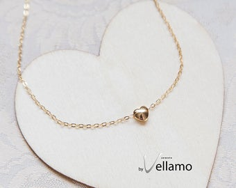 Dainty heart gold filled necklace, gold filled minimalistic heart necklace, cute puffy heart, gold, dainty jewelry layering necklace