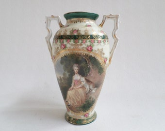 RS Prussia mold 080 Old English Masters Porcelain vase Gainsborough Mrs Mary Robinson v620