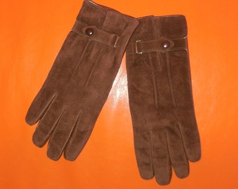 Unworn Vintage Men's Leather Gloves 1960s 70s Soft Brown Leather and Suede Men's Gloves Snap Detail at Wrist Boho EXC M