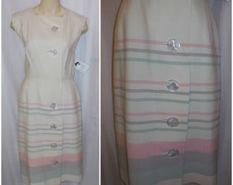 SALE Vintage 1950s 60s Dress Straight Skirt Wiggle Dress Cream Pastel Stripes Huge Round Buttons M chest to 36 in