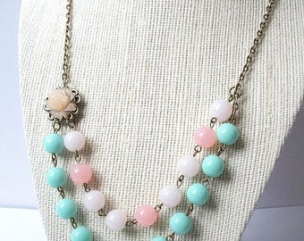 SPRING SALE Flower Necklace Vintage Style Flower and Bead Light Baby Pink and SeaFoam Green Flower Bead Minimalist Antique Bronze Chain