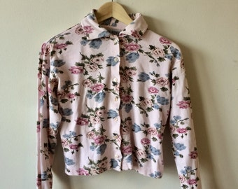 Floral Light Pink Crop Top Long sleeve Button Up with Sewn - in Tank Womens