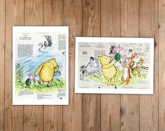 Winnie the Pooh Print Set of Classic Friends and Winnie & Piglet