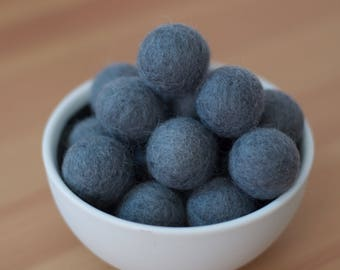 Slate Felt Pom Pom Balls set of 12