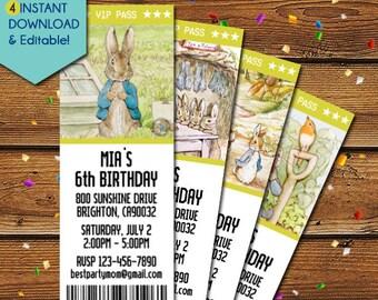 Peter Rabbit Invitations, Peter Rabbit Birthday Invitation, Peter Rabbit Baby Shower Invitation, Peter Rabbit Invite, Peter Rabbit Party