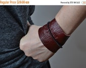 CHRISTMAS SALE Burgundy Leather Cuff Bracelet - Leather Cuff Bracelet - Leather Cuff - Summer Accessories - Handmade Leather Cuff