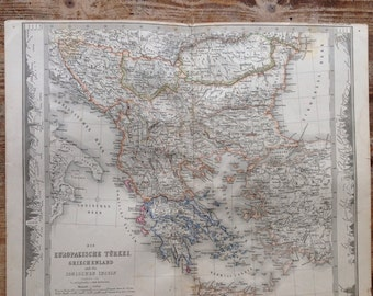 Antique Turkey Greece map original 1859 Hand-colored map Geography Stielers Hand Atlas