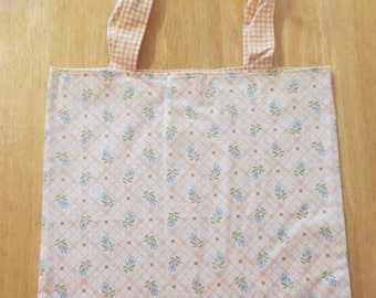 Cotton Grocery Tote, Peach and White
