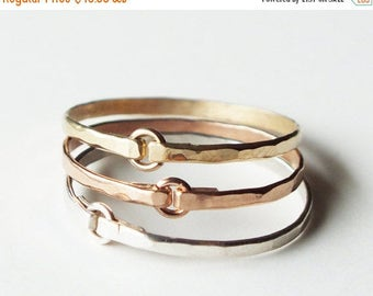 ON SALE Three Hammered Mixed Metal Tiny Circle Rings - Gold Rings - Stacking Rings - Trio Rings