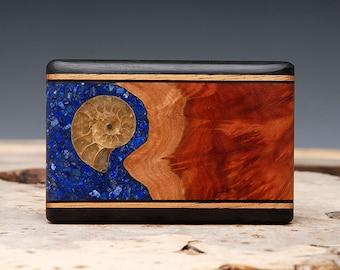 Exotic Wood, Lapis and Ammonite Fossil Inlaid Belt Buckle - Handmade