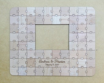 60 piece Custom Wedding Guest Book Frame Puzzle with Heart Tabs