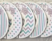 Custom Baby Closet Clothes Dividers Organizers in Mint Grey Elephants Chevrons Dots Stripes CD260 Boy Girl Baby Shower Nursery Gift