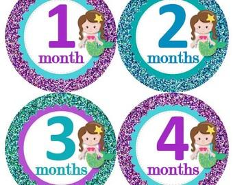 Baby Monthly Milestone Growth Stickers Aqua Turquoise Purple Glitter Brunette Mermaids Nursery Theme MS929 Baby Shower Gift Baby Photo Prop