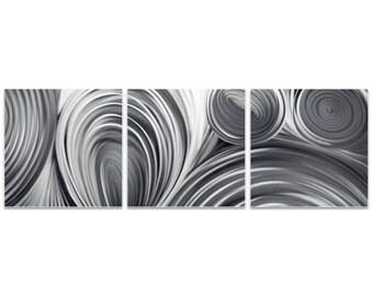 Metal Circles Art 'Conduction Triptych Large' by Nicholas Yust - Modern Wall Decor Minimalist Artwork on Metal or Acrylic