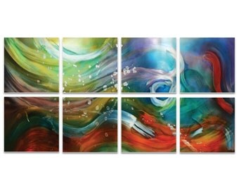 Large Rainbow Art 'Esne Windows Large' by Nicholas Yust - Abstract Wall Tiles Colorful Painting Print on Metal or Acrylic
