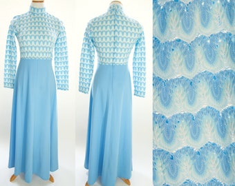 Vintage 70s Lace Dress, 1970s Long Dress, 70s Maxi Dress, 70s Light Blue Dress, 70s Crochet Lace top dress, 70s dress, 1970s long sleeve