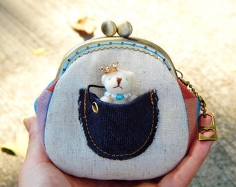 Teddy bear coin purse, Animal coin purse, Change pouch, Cute mini teddy bear