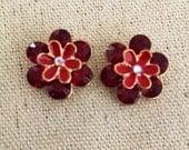 Crystal Flower Studs in Ruby