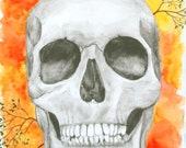 9x12 Mixed Media Painting-Skull and Tree Branches-Watercolor, Graphite, Colored Pencil Art