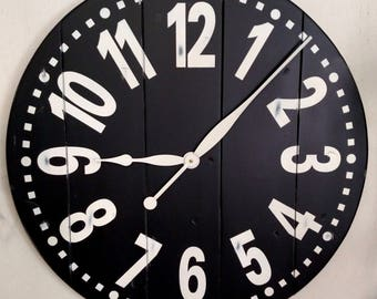 Personalized Plank Large Wall Clock with option color combinations