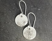 Raw Silk - delicate silk textured sterling silver dangle earrings. UK