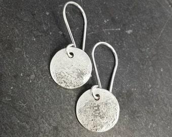 Raw Silk - delicate silk textured sterling silver dangle earrings. UK