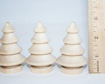 "Small Wooden Tree 2-3/4"" Tall, Miniature Tree, Christmas Tree,  Craft, Pine Tree, Doll House Tree, Unfinished Wood, Tree,Mini Tree"