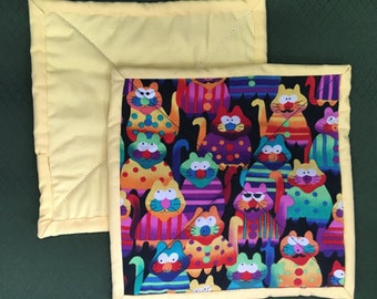 Cats and more Country Pot Holders, Machine Quilted