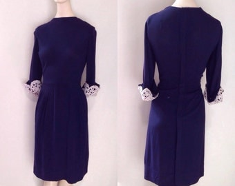 1940's Herbert Schneider Navy Dress