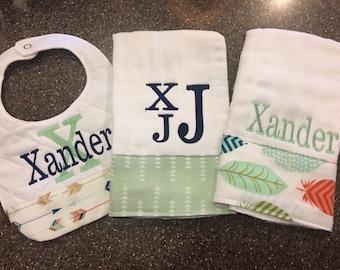 Personalized Monogrammed Custom Burp Cloths & Bib for boys or girls