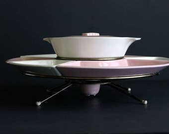 Vintage Mid Century Lazy Susan Pink and White Atomic Snack Server Shawnee Kenwood Pottery