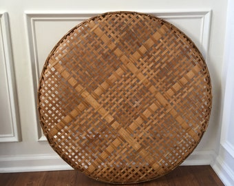 Vintage Tobacco Basket Round Tray Golden Honey  Harvest Sieve Wall  Art Mid Century Table Top Bohemian Chic Home Decor