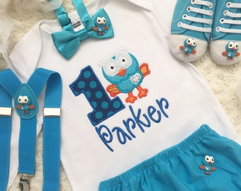 4pc set Giggle and Hoot inspired boys Birthday outfit- includes personalised Top,diaper cover,suspenders and shoes