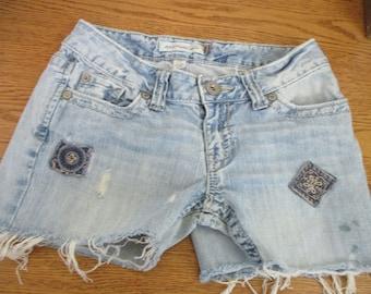 "Aeropostale CUTOFF Jean SHORTS Cut Off W 30 Measured Hot Pants 30"" waist GRUNGE free shipping usa"