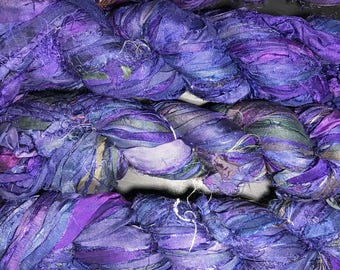 Recycled Sari Silk Ribbon / 3.5 OZ / 100 Grams / 50 Yards Bulky / PU004