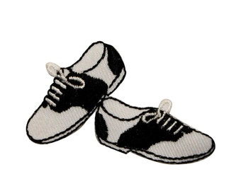 ID 0129 Black & White Shoes Patch 50s Dance Embroidered Iron On Applique