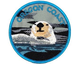 "Souvenir Patch ""Oregon Coast"" Sea Otter State Coastline Tourist Iron-On Applique"