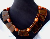 Vintage Lucite Tortoise Bib Necklace Mid Century Modern Lucite Rootbeer Egyptian Revival Art Deco Style Collar Necklace 1970s