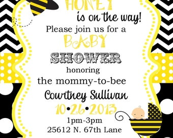 25 Bee Bumblebee Baby Shower invitations with envelopes -little honey- ANY COLORS