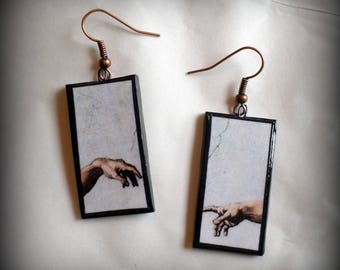 The Creation of Adam Earrings Michaelangelo Handmade Polymer Clay