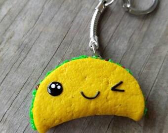 Kawaii Winking Taco Keychain