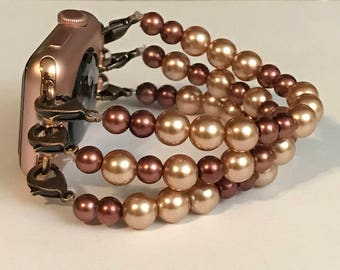 Apple Watch Chocolate Brown & Gold Beaded Bracelet