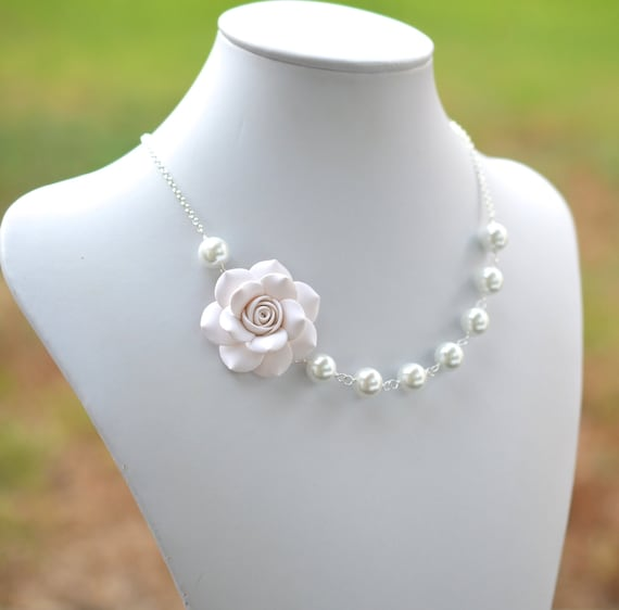 FREE EARRINGS, White Flower necklace, White Rose Necklace, White Bridesmaid Necklace, White bridal Necklace, Statement Necklace