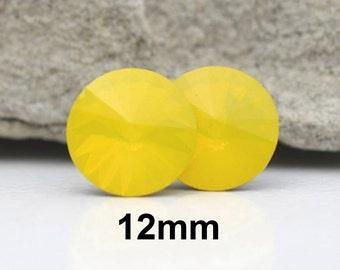 Yellow Opal Studs, Opal Earrings, Swarovski, Rivoli Earrings, Crystal Studs,  Rhinestone Earrings, Yellow Earrings, Yellow Studs, 12mm