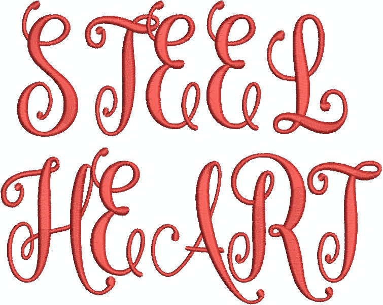 Steelheart script embroidery font letters upper case and